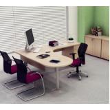 mesa para escritório de canto com gavetas Jandira